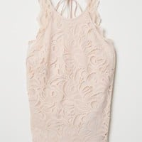 Sleeveless Lace Top - Powder pink - Ladies | H&M US