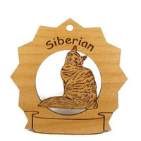 7403 Siberian Cat Personalized Wood Ornament by gclasergraphics