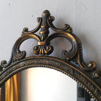 Ornate Oval Mirror in Vintage Metal Italy Frame - 17 x 12 inch