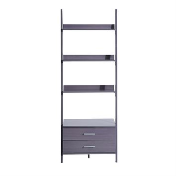 Modern Ladder Style Bookcase Double Drawer Storage Cabinet