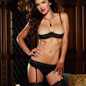 Black Stretch Lace Open Cup Underwire Bra