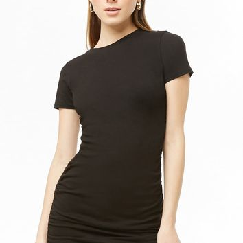 Ruched Lace-Up T-Shirt Dress