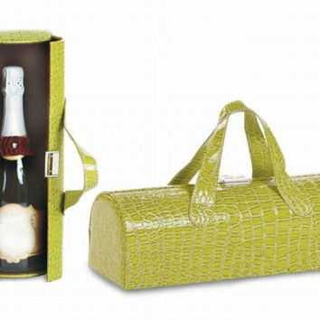 Wine Clutch - Paris Green Color Croc Print