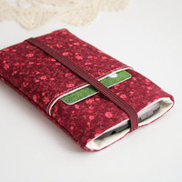 Mobile Phone Case Card Holder - Elastic Band - 2 Available Sizes - Dark Bordeaux Field of Red and Pink Flowers