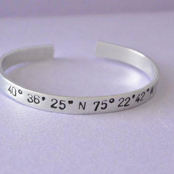 GPS Coordinates Hand Stamped Bracelet Aluminum Cuff Personalized Gift Skinny Bangle Engraved Favorite Place Longitude Latitude Location