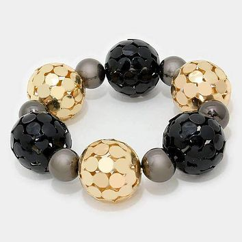 Metal Mesh Ball Stretch Bracelet