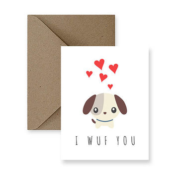 I Wuf You | Funny Love Card, Cute Love Card, Card for Him, Card for Boyfriend, Card for Husband, Funny Romance Card