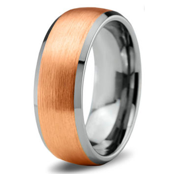 Rose Gold Wedding Band Ring Tungsten Carbide 8mm 18K Tungsten Brushed Ring Man Wedding Band Male Women Custom Laser Engraving Anniversary