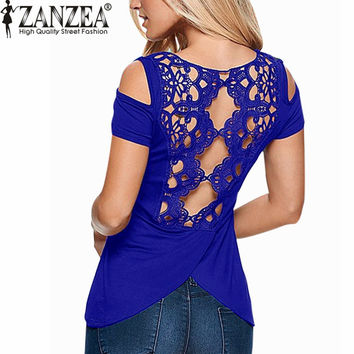 ZANZEA 2016 Summer Blusas Sexy Women Blouses Lace Crochet Short Sleeve Backless Off Shoulder Split Tops Blouse Shirt Plus Size