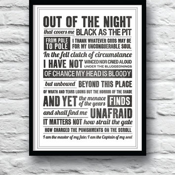 Invictus, i am the master of my fate, invictus poem, wall art, inspirational quote, poem, typography