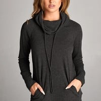 Drawstring Cowl Neck Pullover – Graffiti Beach Boutique - Indie Fashion Art Gifts