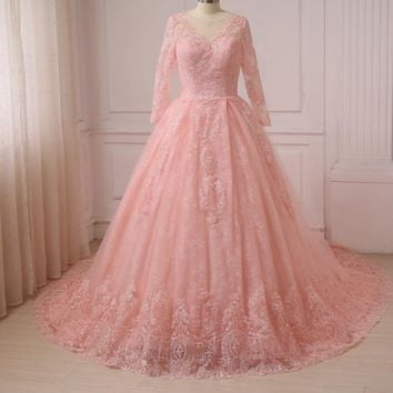 Romantic Pink Ball Gown Wedding Dresses Long Sleeve Lace Bride Dress
