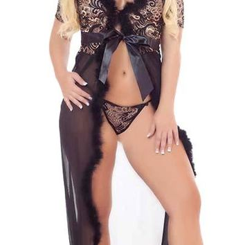 Plus Size Timeless Glamour Sensual Lace and Fur Robe with G-String