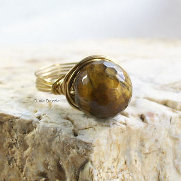 Mother's Day gift, tigereye ring, wire wrapped ring, Tiger's Eye jewelry, Tiger Eye gem, semiprecious gemstone jewelry