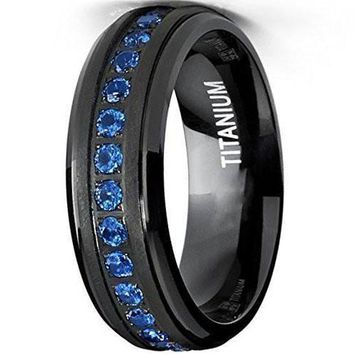 CERTIFIED 7mm Black Titanium Eternity Ring Band With Deep Blue Cubic Zirconia CZ