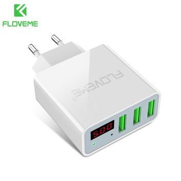 FLOVEME USB Charger 3 Ports+Digital Display Portable Fast USB