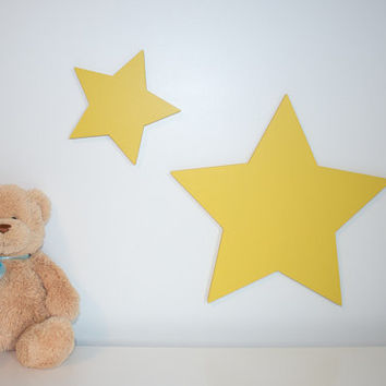 Set of stars 6 inch and 12 inch wooden star yellow star decor wooden stars twinkle twinkle little star