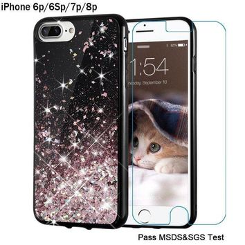 ONETOW iPhone 8 Plus case, iPhone 7 Plus Case, Maxdara [5.5 inch Screen Protector] Black Glitter Liquid Sparkle Protective Case Floating Bling Pretty for Girls Children- 6Plus/6s Plus/7Plus/8Plus (RoseGold)