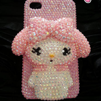 Bling bling case crystalized cover decoden for iphone 4 and 5 kawaii bunny pink