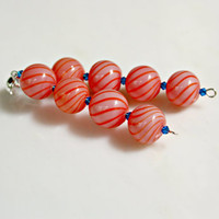Long Dangle Hand Blown Peach and Pink Swirl Glass with Capri Blue Crystals Sterling Silver Earrings by Mei Faith