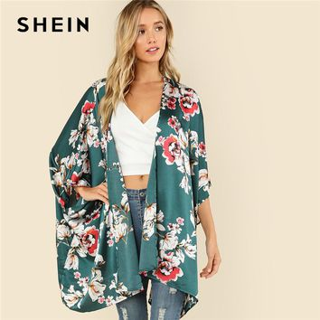 SHEIN Multicolor Vacation Boho Bohemian Beach Floral Print Three Quarter Length Sleeve V Neck Kimono Summer Women Blouse Top