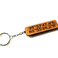 Latitude and Longitude OAK WOOD Keychain Custom Engraved GPS Coordinates Keyring Personalized One-of-a-kind Fathers Day Gift
