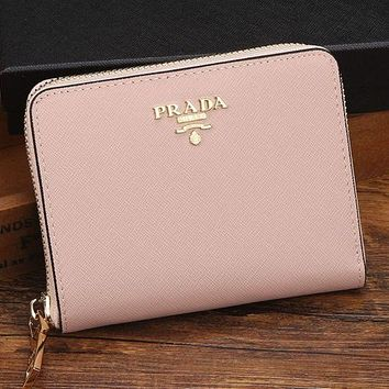 Prada Trending Ladies Leather Metal Zipper Wallet Purse Pink I-MYJSY-BB