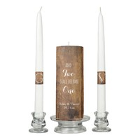 Rustic Brown Barn Wood Country Wedding Unity Candle Set