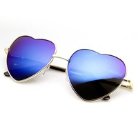 zeroUV - Small Thin Metal Heart Shaped Frame Cupid Sunglasses (Gold Red)