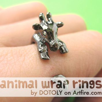 Baby Giraffe Animal Wrap Around Ring in Gunmetal Silver - Sizes 4 to 9