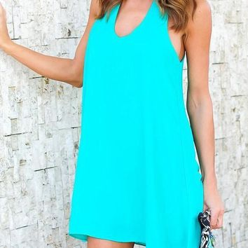 Green Cut Out Round Neck Casual Mini Dress