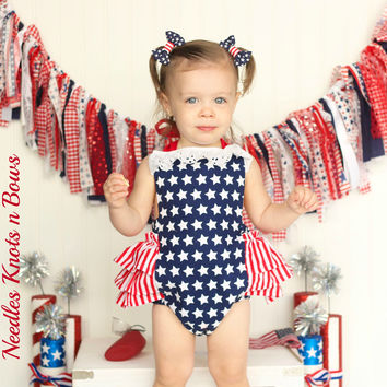 Girls 4th of July Romper, Baby Girls Patriotic Outfit, Girls Independence Day Outfit, Red, White & Blue Romper