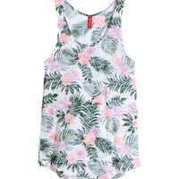 H&M - Tank Top with Burnout Pattern - White