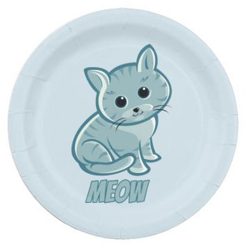 Teal Blue Cute Cat Paper Plates