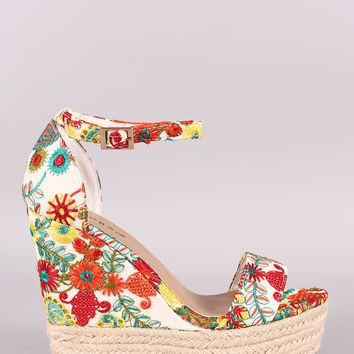 Embroidered Floral Espadrille Platform Wedge
