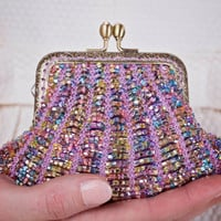 Coin purse, beaded coin purse, bead knitted, shell purse, change purse, beaded knitting, clasp purse, lilac, beaded clutch, cosmetic bag