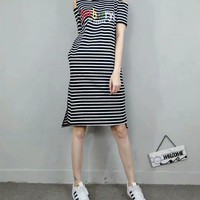 """Burberry"" Sundress Casual Fashion Stripe Rainbow Letter Embroidery Short Sleeve Middle Long Section T-shirt Bare Shoulder Dress"