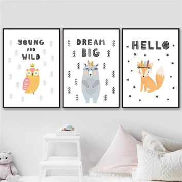 Cartoon Cute Animal Nursery Decor Nordic Canvas Painting Baby Kid Bedroom Wall Art Print Poster Minimalist Letter Lovely Picture