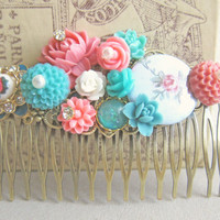 Hair Comb Turquoise Tiffany Blue Hair Comb Pink Red Garden Wedding Maid of Honor Bridesmaid