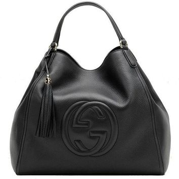DCCK1 Gucci Soho Medium Black Hobo Leather Double Strap Italy Handbag Bag New