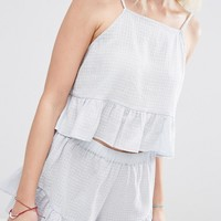 ASOS PETITE Exclusive Textured Beach Frill Top CO ORD