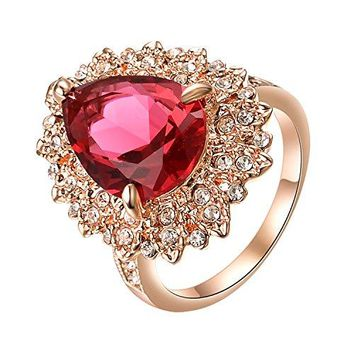 Yoursfs Ruby Ring Square 18K Rose Gold Plated Australia Crystal Engagement Square Ring