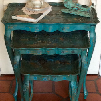 Vintage Florentine Nesting Tables Made In Italy