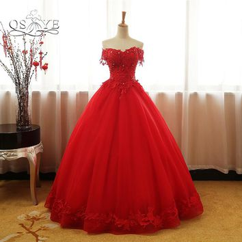 QSYYE 2018 Vintage Red Ball Gown Prom Dresses Elegant Off Shoulder 3D Lace Beaded Floor Length Tulle Evening Party Gown Custom