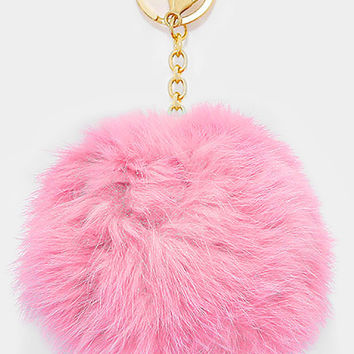 Large Rabbit Fur Pom Pom Keychain, Key Ring Bag Pendant Accessory - Light Pink
