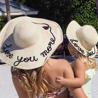 Mommy and Me straw beach hats