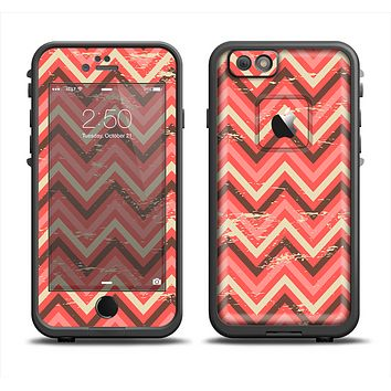 The Scratched Coral & Brown Layered Chevron V2 Skin Set for the Apple iPhone 6 LifeProof Fre Case