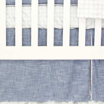 Crib Sheet | Stuart's Denim & Silver Check Crib Bedding