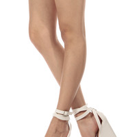 White Faux Leather Wrap Around Wedges
