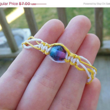 15% off CIJ SALE Reversible Hemp Bracelet Yellow White Two Tone Bead For Girls